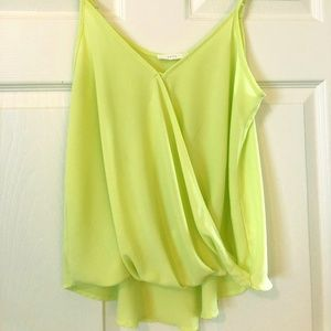 Chartreuse Faux Wrap Woven Camisole